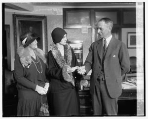 William D Mitchell presents check to National Woman's Party, March 1929